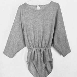 80s Dance Sportswear Vintage Gray Romper Jumpsuit